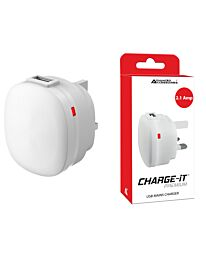 Advanced Accessories Charge-iT Premium USB Mains Charger Adapter 2.1Amp-white