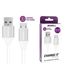 Advanced Accessories CHARGE-IT Premium Micro USB Cable Supports Fast Charge - 1 Metre - White