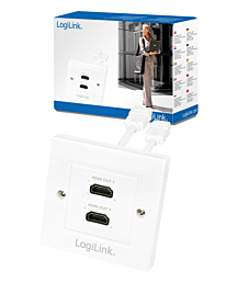 LogiLink HDMI 2 Port Wall Socket