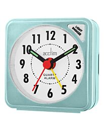 Acctim Ingot Turquoise Travel Alarm Clock With Light 12585