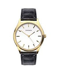 Sekonda Men's White Dial Black leather Strap Watch 1535