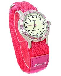 Ravel Girls Pink Nite-Glow Luminous Dial Velcro Strap Watch R1708.5