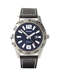 Sekonda Gents Stainless Steel Leather strap Watch 3252