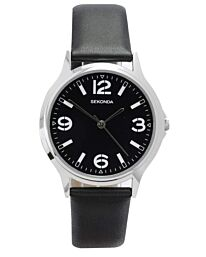 Sekonda Men's  Classic Style Black Leather Strap watch 3285