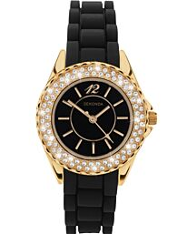 Sekonda Ladies Fashion Party Time Silicon Strap Watch Black 4402
