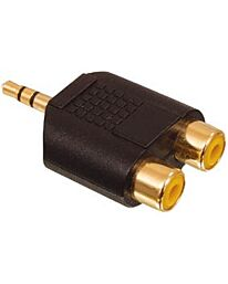 1 x 3.5mm Stereo Plug to 2 Phono Sockets Gold - Bag of 5pc
