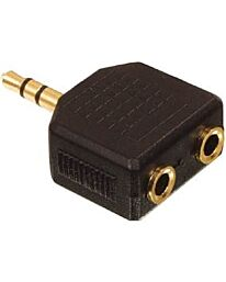 3.5mm Stereo Plug to 2 x 3.5mm Sockets Adaptor Gold - Bag of 5pc