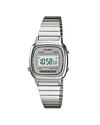 Casio Women's Silver Classic Stainless Steel Digital Watch Alarm Timer LA670WA-7DF
