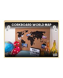 Global Gizmos Corkboard World Map Wall-Hanging Decoration Memo Board including Pins, Brown, 60 x 40 cm