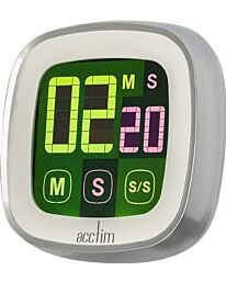 Acctim Scroll Touchscreen Kitchen Timer, White/Silver