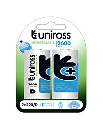Uniross Batteries Pack OF 2 D Size  2600mAh