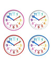 Acctim Wickford Kids Wall Clock in Pink/White/Red/Blue