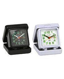 Widdop Folding Case Quartz Travel Alarm Clock Black/White 5165