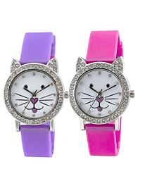 Tikkers Children white Dial Analogue Display Purple/Pink silicone Strap Watch