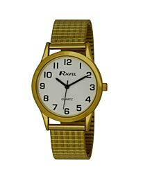 Ravel Watch Gold Strap With White Round Easy Read Dial With Expander Strap R0201.02.1S