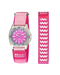 Ravel Girl's Surfer 5ATM Velcro Quartz Watch Pink Nylon Strap R5-13.5L