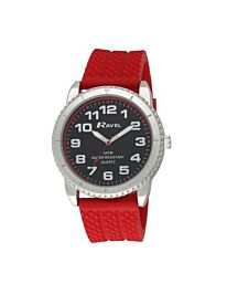 Ravel Men's 5ATM Quartz Watch Black Dial Red Silicone Strap R5-20.10G