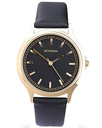 Sekonda Men's  Classic Style Black Leather & Gold Plated watch 3141