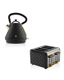 Swan Gatsby Kettle Toaster Set Black & Gold