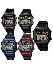 Casio Gents Black Rubber Quartz Watch with Digital Dial AE-1300WH