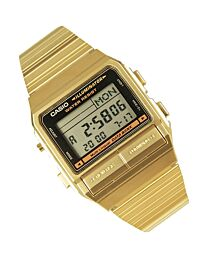 Casio Men's Gold Tone Stainles-Steel Quartz Watch with Digital Dial DB-380G-1DF