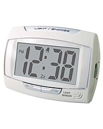 Champion Stylish Bold Light Sensor Glow in the Dark LCD Alarm Clock With Light & Snooze White DG810SW