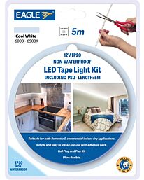 Eagle 12V IP20 LED Tape Light Kit 5M With PSU
