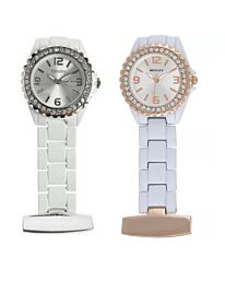 Henley Glamour Rose Gold With White Enamel Link Beauticians Fob Watch HF01