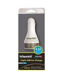 Infapower Triple USB Car Charger 4.2A