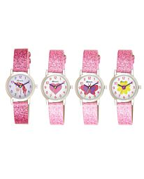 Ravel Girl's Sparkle Glitter Faux Leather Strap Watch R1808