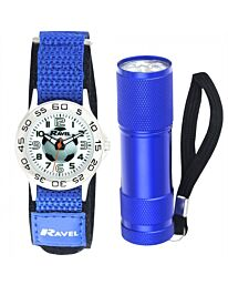 Ravel Boy's Gift Set - Velcro Watch with Football Print  + Torch R4402