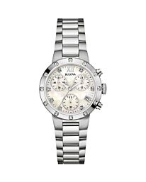 Bulova Ladies Diamond Gallery Chronograph Diamond Watch 96W202