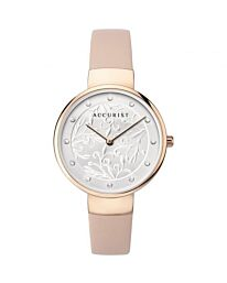 Accurist Ladies Gold Tone Silver Embossed Dial Pink Strap Watch