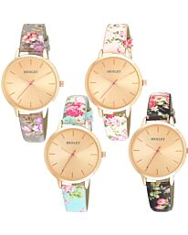Henley Women's Fashion Casual Spring Floral Leather Strap Watch H06154