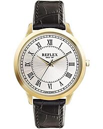 Reflex Gents watch Black Leather Strap champange Dial REF0021
