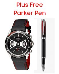 Accurist Men's Chronograph Watch + FREE Parker IM Red Rollerball Pen