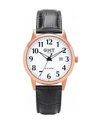 GMT LONDON 50M waterproof Gents watch rose gold s/s case / black leather strap GG0006-03