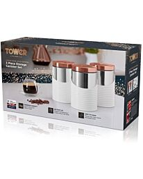 TOWER Linear Stainless Steel White/Rose Gold, 11.6 x 11.6 x 17 cm, Set of 3 Canisters T826001RW