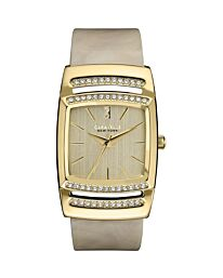 Caravelle New York 44L142 Ladies Bone Tone Bangle Watch with Crystals