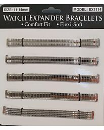 Watch Straps 11-14mm Expander 6 pack EX1114 Silver Colour