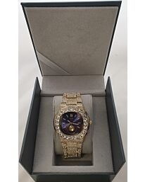 PI-7644 NY LONDON GENTS BLING WATCH GOLD-BLUE