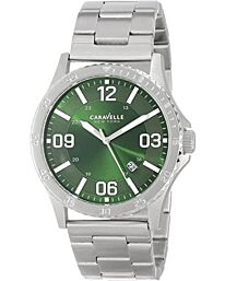 Caravelle New York Men's Green Dial Silver Stainless Steel Bracelet Watch 43B129