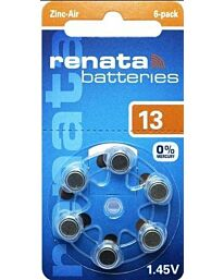 Renata No. 13 (PR48) Hearing Aid Batteries 6 pack