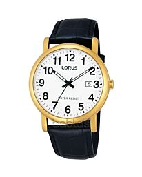 Lorus Gents black leather strap dated Watch RG836CX9