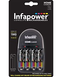 Infapower Home Charger + 4xAA 1300mAh Batteries included C001                                                                        (Pack of 6)
