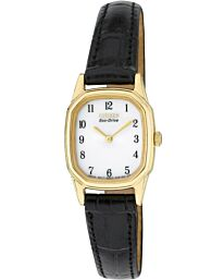 Citizen Ladies Eco-Drive Gold Tone Black Strap Watch EW9312-04A