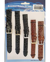 R001-12B 5PK LEATHER WATCH STRAPS AVAILABLE SIZES 12MM TO 22MM