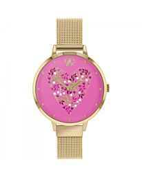 SARA MILLER DITSY LADIES PALE GOLD STAINLESS STEEL MESH STRAP HEART DIAL WATCH SA4078