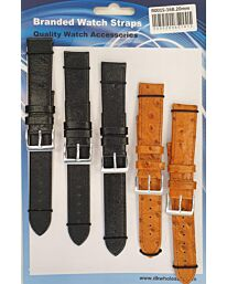 R001S-16B 5PK LEATHER WATCH STRAPS AVAILABLE SIZES 18MM TO 22MM