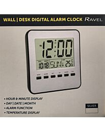 RAVEL WALL/DESK DIGITAL ALARM CLOCK GREY/SILVER RCD007.1